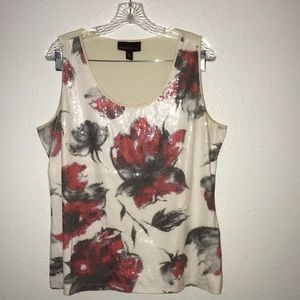Dana Buchman tank top red roses sequins Sz Large